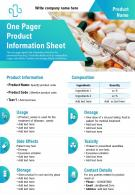 One Pager Product Information Sheet Presentation Report Infographic PPT PDF Document