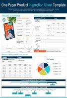 One Pager Product Inspection Sheet Template Presentation Report Infographic PPT PDF Document