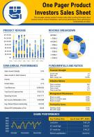 One Pager Product Investors Sales Sheet Presentation Report Infographic PPT PDF Document