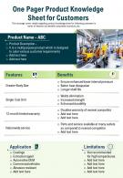 One Pager Product Knowledge Sheet For Customers Presentation Report Infographic PPT PDF Document
