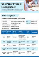 One Pager Product Listing Sheet Presentation Report Infographic PPT PDF Document