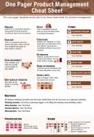 One Pager Product Management Cheat Sheet Presentation Report Infographic PPT PDF Document