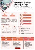 One Pager Product Marketing Flyer Sheet Template Presentation Report Infographic PPT PDF Document