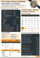 One Pager Product Materiel And Labor Cost Sheet Template Report PPT PDF Document