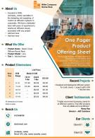 One Pager Product Offering Sheet Presentation Report Infographic Ppt Pdf Document