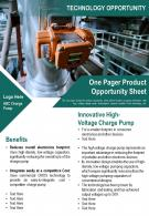 One Pager Product Opportunity Sheet Presentation Report Infographic PPT PDF Document