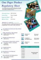 One Pager Product Regulatory Sheet Presentation Report Infographic PPT PDF Document