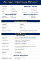 One Pager Product Safety Data Sheet Presentation Report Infographic PPT PDF Document