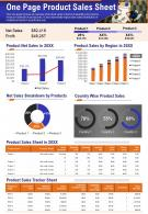 One Pager Product Sales Sheet Presentation Report Infographic PPT PDF Document