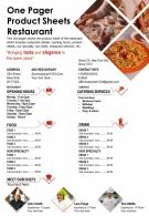 One Pager Product Sheets Restaurant Presentation Report Infographic PPT PDF Document