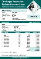 One Pager Production Assistant Invoice Sheet Presentation Report Infographic PPT PDF Document
