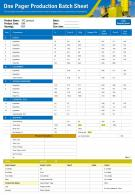 One Pager Production Batch Sheet Presentation Report Infographic PPT PDF Document