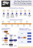 One Pager Production Flow Sheet For Printing Company Presentation Report Infographic Ppt Pdf Document
