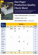 One Pager Production Quality Check Sheet Presentation Report Infographic PPT PDF Document