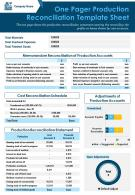 One Pager Production Reconciliation Template Sheet Presentation Report Infographic Ppt Pdf Document