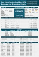 One Pager Production Sheet With Episodes And Characters Details Presentation Report Infographic PPT PDF Document