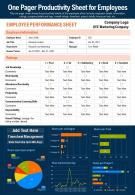 One Pager Productivity Sheet For Employees Presentation Report Infographic PPT PDF Document