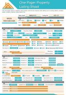 One Pager Property Listing Sheet Presentation Report Infographic PPT PDF Document