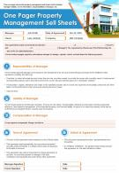 One Pager Property Management Sell Sheets Presentation Report Infographic PPT PDF Document