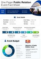One Pager Public Relation Event Fact Sheet Presentation Report Infographic PPT PDF Document