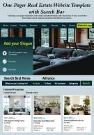 One Pager Real Estate Website Template With Search Bar Presentation Report Infographic PPT PDF Document