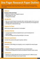 One Pager Research Paper Outline Presentation Report Infographic PPT PDF Document