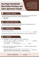 One Pager Residential Real Estate Purchase And Sales Agreement Sample Report PPT PDF Document