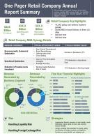 One Pager Retail Company Annual Report Summary Presentation Report Infographic PPT PDF Document
