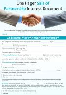 One Pager Sale Of Partnership Interest Document Presentation Report Infographic PPT PDF Document