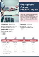 One Pager Sales Coaching Document Template Presentation Report Infographic PPT PDF Document