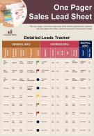 One Pager Sales Lead Sheet Presentation Report Infographic PPT PDF Document