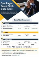 One Pager Sales Pitch Document Presentation Report Infographic PPT PDF Document