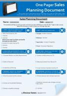 One Pager Sales Planning Document Presentation Report Infographic PPT PDF Document