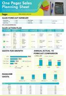 One Pager Sales Planning Sheet Presentation Report Infographic PPT PDF Document