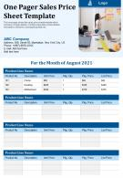 One Pager Sales Price Sheet Template Presentation Report Infographic PPT PDF Document