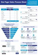 One Pager Sales Process Sheet Presentation Report Infographic PPT PDF Document