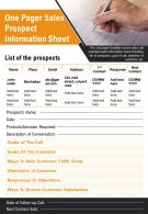 One Pager Sales Prospect Information Sheet Presentation Report Infographic PPT PDF Document