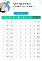One Pager Sales Record Document Presentation Report Infographic PPT PDF