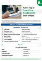 One Pager Sales Tax Registration Document Presentation Report Infographic PPT PDF Document