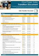 One Pager Sales Transition Document Presentation Report Infographic PPT PDF