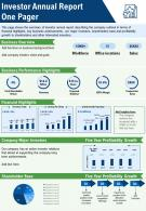 One Pager Sample Investor Annual Report Presentation Report Infographic PPT PDF Document