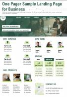One Pager Sample Landing Page For Business Presentation Report Infographic PPT PDF Document