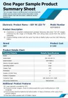 One Pager Sample Product Summary Sheet Presentation Report Infographic PPT PDF Document