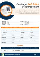 One Pager Sap Sales Order Document Presentation Report Infographic PPT PDF Document