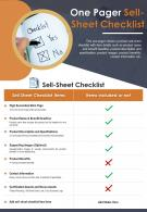 One Pager Sell Sheet Checklist Presentation Report Infographic PPT PDF Document