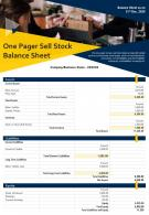 One Pager Sell Stock Balance Sheet Presentation Report Infographic PPT PDF Document