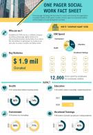 One Pager Social Work Fact Sheet Presentation Report Infographic PPT PDF Document