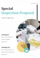 One Pager Special Inspection Proposal Template