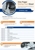 One Pager Startup Fact Sheet Presentation Report Infographic PPT PDF Document