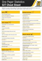 One Pager Statistics GIT Cheat Sheet Presentation Report Infographic PPT PDF Document